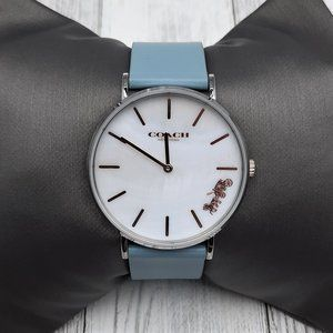 Coach Women's Perry Leather Strap Watch/Light Blue